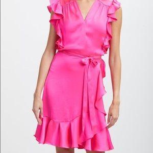 Paradise Pink Ruffle-Accent Surplice Dress